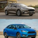 2018 Ford Focus Sedan vs 2014 Ford Focus Sedan front three quarters right side