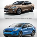 2018 Ford Focus Sedan vs 2014 Ford Focus Sedan front three quarters