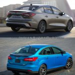 2018 Ford Focus Sedan vs 2014 Ford Focus Sedan rear three quarters right side