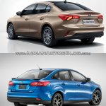 2018 Ford Focus Sedan vs 2014 Ford Focus Sedan rear three quarters