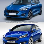 2018 Ford Focus vs 2014 Ford Focus front three quarters studio image