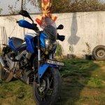 Bajaj Dominar 400 with Blue Domivel kit front angle