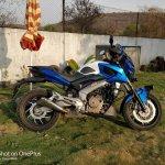 Bajaj Dominar 400 with Blue Domivel kit right side