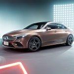 Mercedes A-Class L Sedan Rose Gold front three quarters