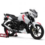 TVS Apache RTR 160 2V White Race Edition press front angle