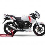 TVS Apache RTR 160 2V White Race Edition press right side