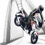 TVS Apache RTR 160 2V White Race Edition press stoppie shot