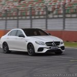 2018 Mercedes-AMG E 63 S review front angle action shot