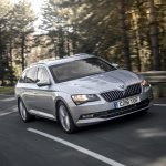 Armoured Skoda Superb Estate front three quarters dynamic