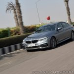 BMW 5-Series 530d review front angle action shot