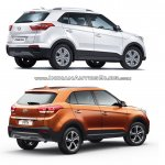 Hyundai Creta old vs new rear three quarters