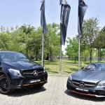 Mercedes-AMG GLE 43 4MATIC Coupe 'OrangeArt' and SLC 43 'RedArt' front three quarters
