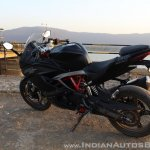 TVS Apache RR 310 Black detailed review rear left quarter