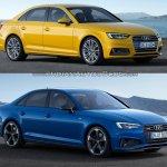 2016 Audi A4 vs 2019 Audi A4 old vs new front three quarters
