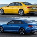 2016 Audi A4 vs 2019 Audi A4 old vs new rear three quarters