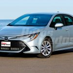 Next-gen Toyota Corolla sedan front three quarters rendering