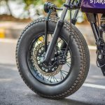 Royal Enfield Stardust cafe racer by Maratha Motorcycles front tyres