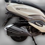 Suzuki Burgman Street spied at showroom exhaust