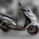 Suzuki Burgman Street spied at showroom grey right profile