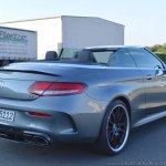 2018 Mercedes-AMG C 63 S Cabriolet (facelift) rear three quarters right side (top down)