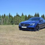 2018 Mercedes-AMG C 63 S (facelift) front three quarters left side scenic