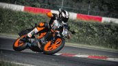 2014 KTM Duke 390 all black front three quarter