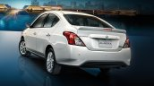 Nissan Sunny facelift rear three quarters press image