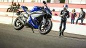 2014 Yamaha YZF-R125 front three quarter detail press shot