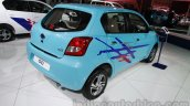 Accessorized Datsun Go at Auto Expo 2014 blue rear quarter