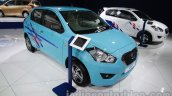 Accessorized Datsun Go at Auto Expo 2014 front quarter blue