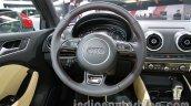 Audi A3 sedan steering wheel at Auto Expo 2014