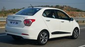 Hyundai Xcent Review moving rear quarter