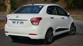 Hyundai Xcent Review rear quarter shot