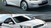 Hyundai Verna facelift vs Old Verna front