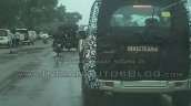 2014 Mahindra Scorpio facelift spied IAB Nashik LED lights