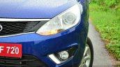 Tata Zest Revotron Petrol Review headlights and DRLs
