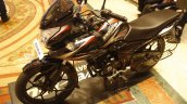 Bajaj Discover 150 F Launch black and red front three quarter left
