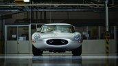 Lightweight Jaguar E-Type press image on factory floor front three quarter