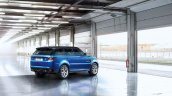 Range Rover Sport SVR press image in garage rear three quarter