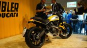 Ducati Scrambler yellow rear three quarter at INTERMOT 2014