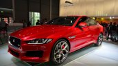 Jaguar XE S front three quarters at the 2014 Paris Motor Show