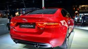 Jaguar XE S rear three quarters right at the 2014 Paris Motor Show