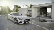 Mercedes AMG GT press image front three quarter silver