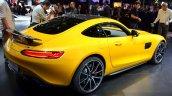 Mercedes AMG GT yellow rear three quarter at the 2014 Paris Motor Show