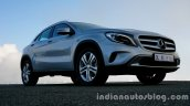 Mercedes GLA front three quarters left on the review