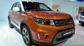 2015 Suzuki Vitara orange front three quarter at the 2014 Paris Motor Show