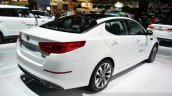 Kia Optima T-Hybrid rear there quarter at the 2014 Paris Motor Show