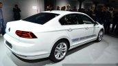 VW Passat GTE rear three quarters at the 2014 Paris Motor Show