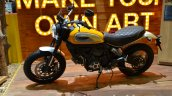 Ducati Scrambler yellow side at the 2014 Thailand International Motor Expo
