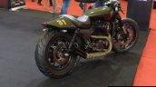 Motomiu Katungo Uno (custom Harley Davidson Street 750) rear three quarter at Autocar Performance Show 2014